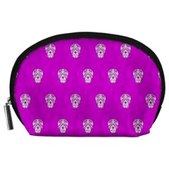 Skull Pattern Hot Pink Accessory Pouches (large)