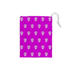 Skull Pattern Hot Pink Drawstring Pouches (Small)