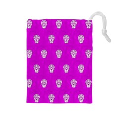 Skull Pattern Hot Pink Drawstring Pouches (Large)