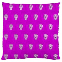 Skull Pattern Hot Pink Standard Flano Cushion Cases (two Sides)