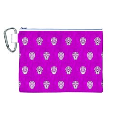 Skull Pattern Hot Pink Canvas Cosmetic Bag (L)