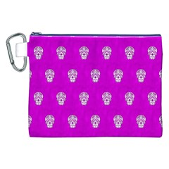 Skull Pattern Hot Pink Canvas Cosmetic Bag (XXL)