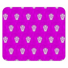 Skull Pattern Hot Pink Double Sided Flano Blanket (Small)