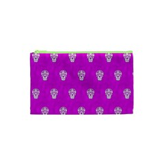 Skull Pattern Hot Pink Cosmetic Bag (xs)