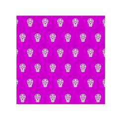 Skull Pattern Hot Pink Small Satin Scarf (square)
