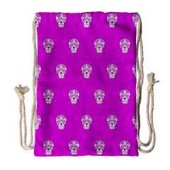 Skull Pattern Hot Pink Drawstring Bag (Large)