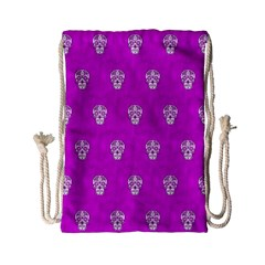 Skull Pattern Hot Pink Drawstring Bag (Small)