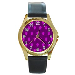 Skull Pattern Purple Round Gold Metal Watches