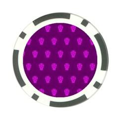 Skull Pattern Purple Poker Chip Card Guards