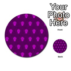 Skull Pattern Purple Multi-purpose Cards (Round)