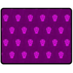 Skull Pattern Purple Fleece Blanket (Medium)