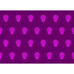 Skull Pattern Purple Birthday Cake 3D Greeting Card (7x5)