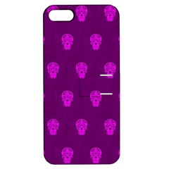 Skull Pattern Purple Apple iPhone 5 Hardshell Case with Stand