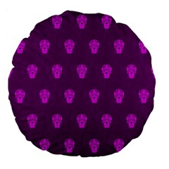 Skull Pattern Purple Large 18  Premium Flano Round Cushions