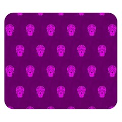 Skull Pattern Purple Double Sided Flano Blanket (Small)
