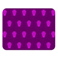 Skull Pattern Purple Double Sided Flano Blanket (Large)