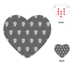 Skull Pattern Silver Playing Cards (Heart)