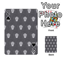 Skull Pattern Silver Playing Cards 54 Designs