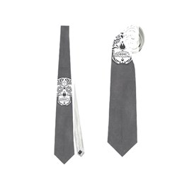 Skull Pattern Silver Neckties (One Side)