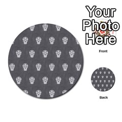 Skull Pattern Silver Multi-purpose Cards (Round)