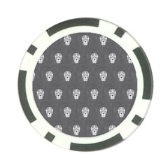 Skull Pattern Silver Poker Chip Card Guards (10 pack)