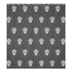 Skull Pattern Silver Shower Curtain 66  x 72  (Large)