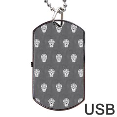 Skull Pattern Silver Dog Tag USB Flash (Two Sides)