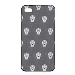 Skull Pattern Silver Apple Iphone 4/4s Seamless Case (black)