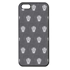 Skull Pattern Silver Apple iPhone 5 Seamless Case (Black)