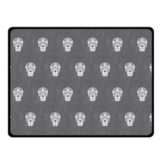 Skull Pattern Silver Double Sided Fleece Blanket (small)