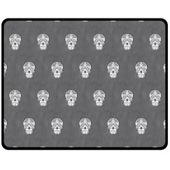 Skull Pattern Silver Double Sided Fleece Blanket (Medium)