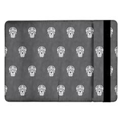 Skull Pattern Silver Samsung Galaxy Tab Pro 12 2  Flip Case