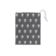 Skull Pattern Silver Drawstring Pouches (Small)