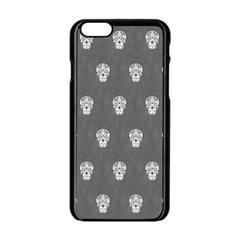 Skull Pattern Silver Apple Iphone 6 Black Enamel Case