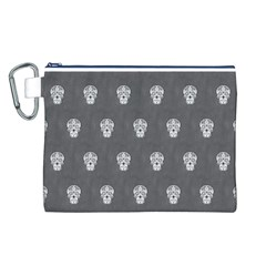 Skull Pattern Silver Canvas Cosmetic Bag (L)