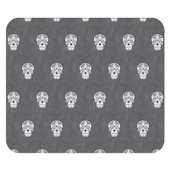 Skull Pattern Silver Double Sided Flano Blanket (Small)
