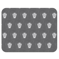 Skull Pattern Silver Double Sided Flano Blanket (Medium)