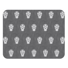 Skull Pattern Silver Double Sided Flano Blanket (Large)