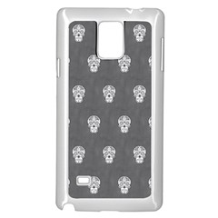 Skull Pattern Silver Samsung Galaxy Note 4 Case (White)