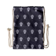 Skull Pattern Silver Drawstring Bag (small)