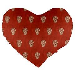 Skull Pattern Terra Large 19  Premium Flano Heart Shape Cushions