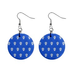 Skull Pattern Inky Blue Mini Button Earrings