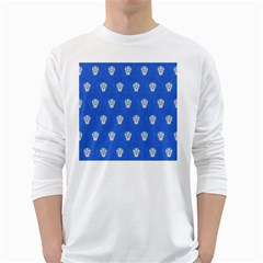 Skull Pattern Inky Blue White Long Sleeve T-Shirts