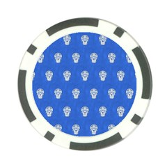 Skull Pattern Inky Blue Poker Chip Card Guards (10 Pack)