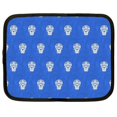 Skull Pattern Inky Blue Netbook Case (XXL)