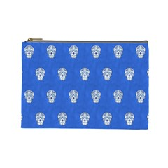 Skull Pattern Inky Blue Cosmetic Bag (Large)