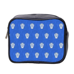 Skull Pattern Inky Blue Mini Toiletries Bag 2-Side