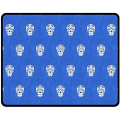 Skull Pattern Inky Blue Fleece Blanket (Medium)