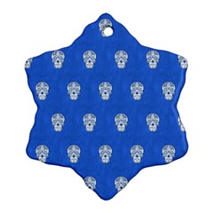 Skull Pattern Inky Blue Ornament (snowflake)