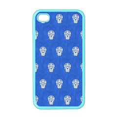 Skull Pattern Inky Blue Apple iPhone 4 Case (Color)